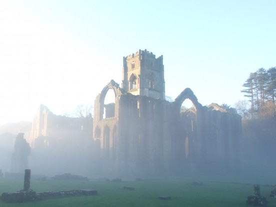 Emerging from the mist: Fountains Abbey, Yorkshire